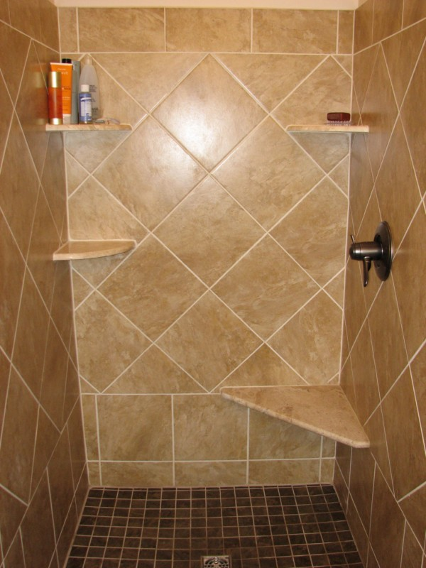 Installing tile shower and floor labra design build for Bathroom porcelain tile designs