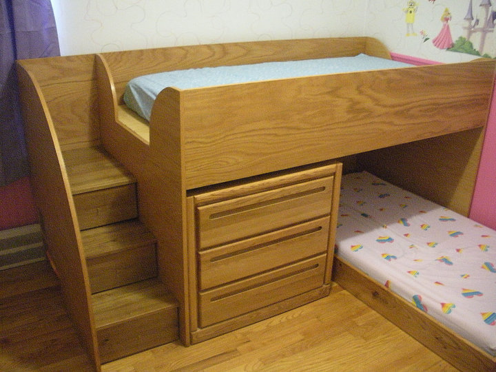 Custom oak bunk bed stairs short