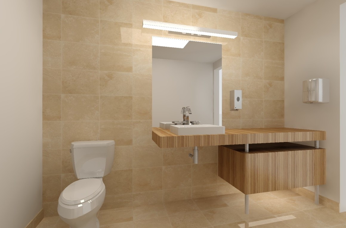 Bank office bathroom update labra design build for Office bathroom designs