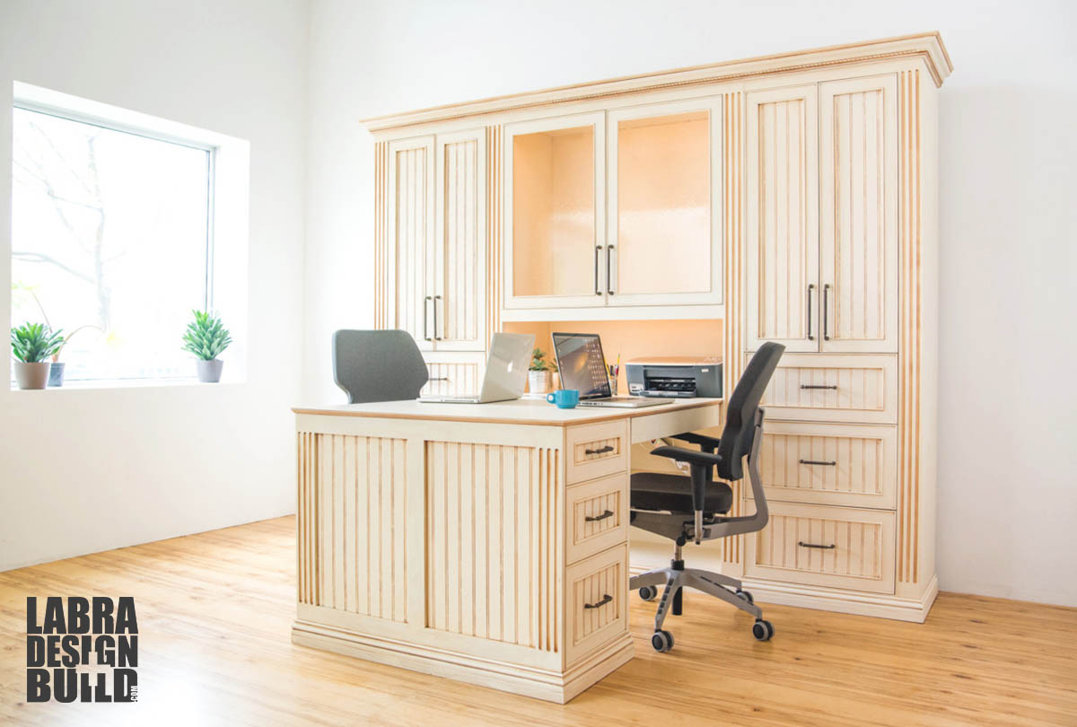 His And Hers Desk In Off White With Dark Glaze Labra Design Build