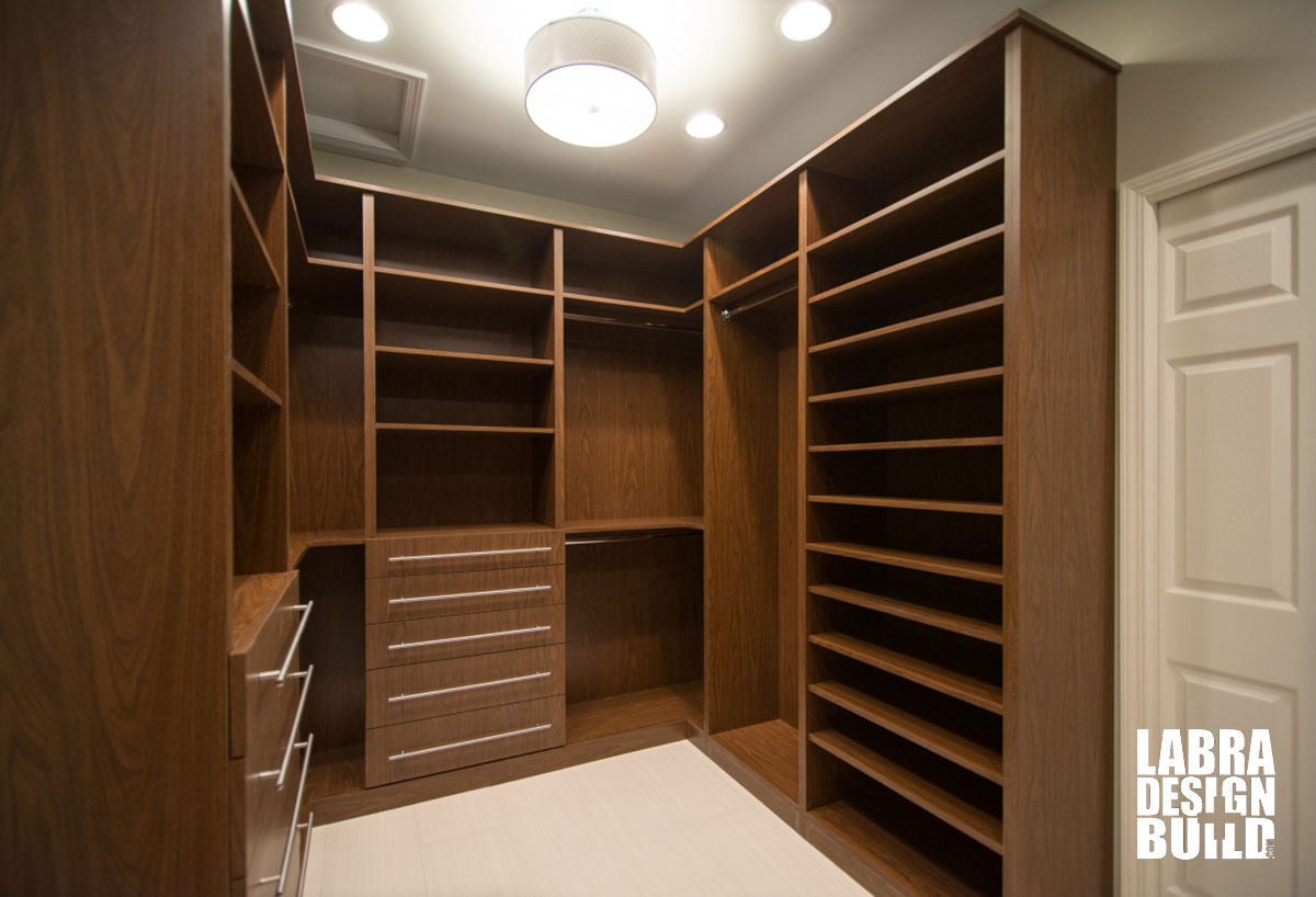 Walk in master closet labra design build commerce mi for His and hers walk in closet