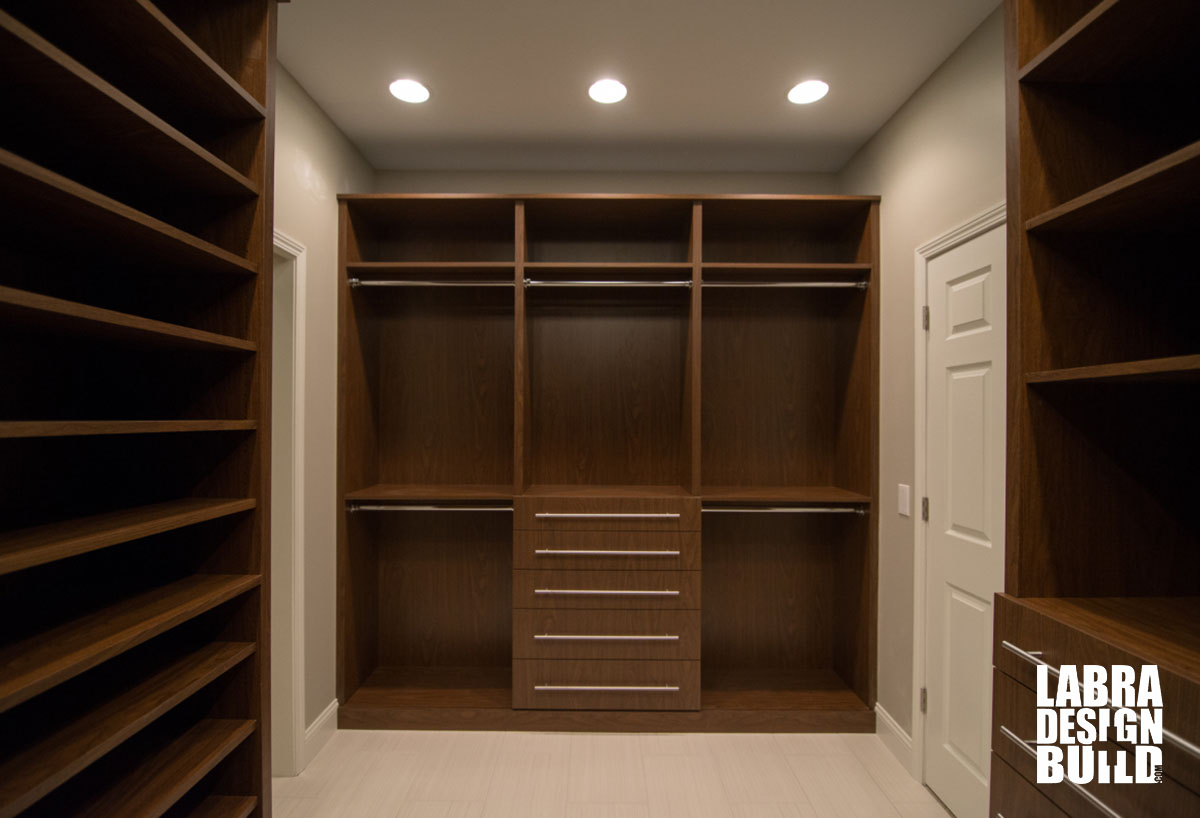 Walk in master closet labra design build commerce mi for Walk in closet remodel