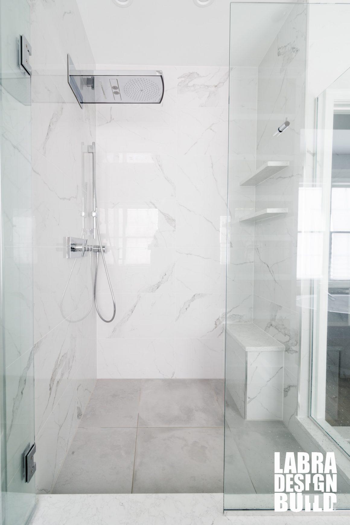 White Master Bathroom Marble Freestanding Tub Labra Design