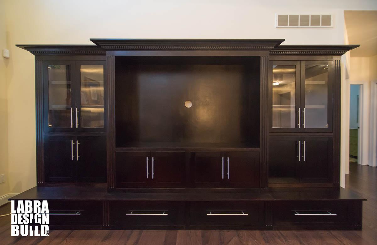 Dark Maple Wood Entertainment Center Labra Design Build