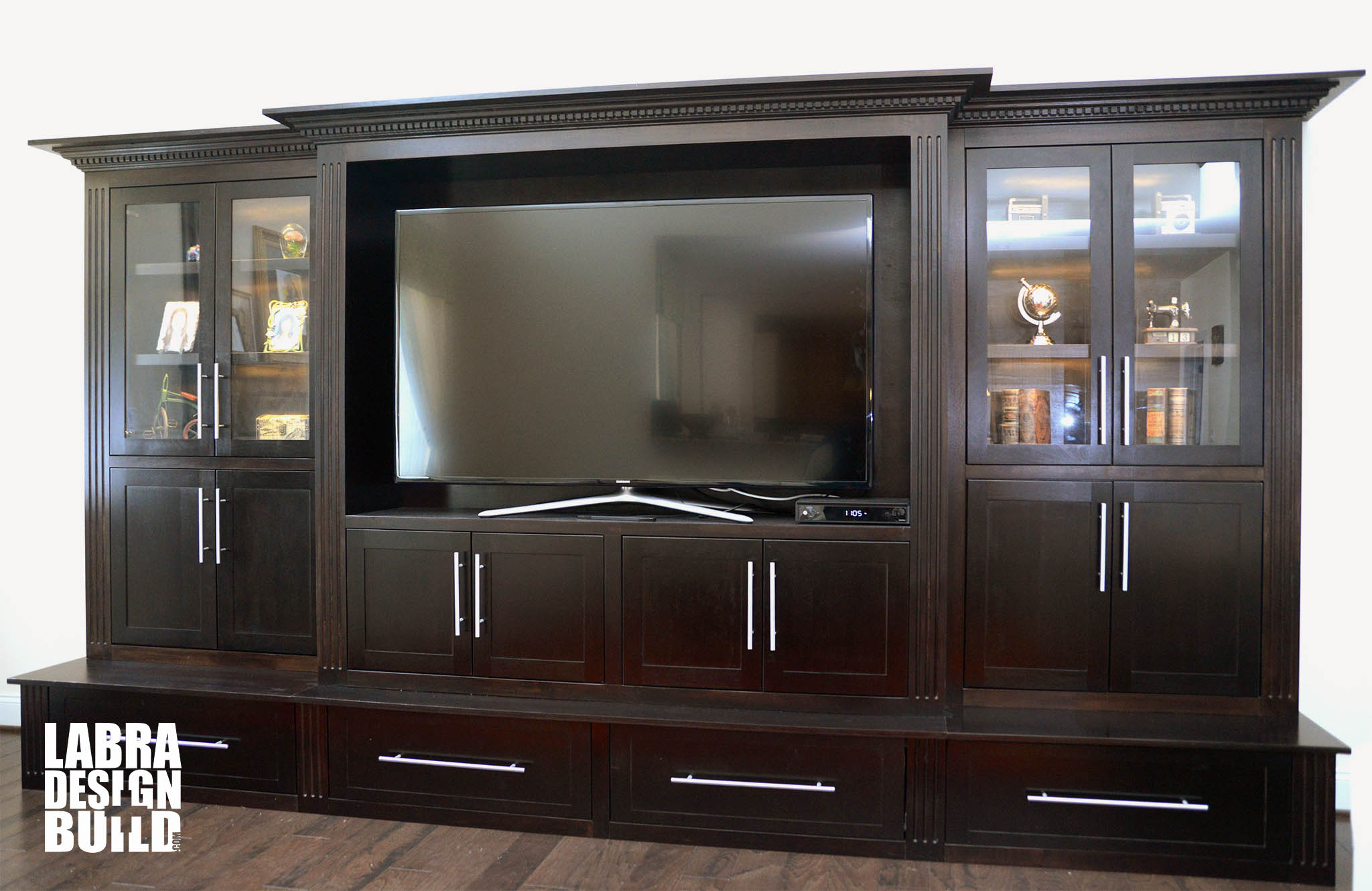 Dark Maple Wood Entertainment Center Labra Design Build