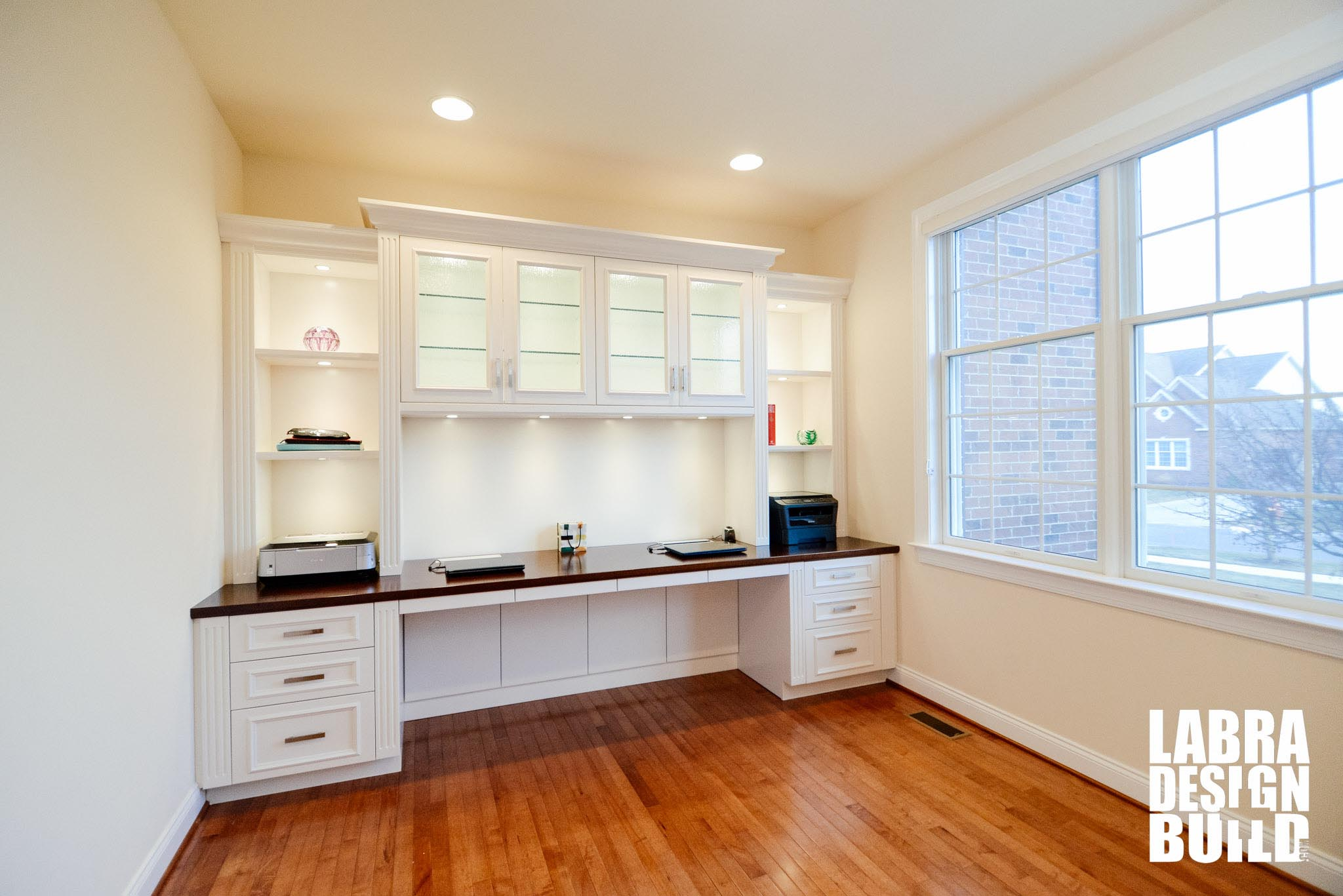 Traditional White Painted Maple Built In Desk Northville Mi